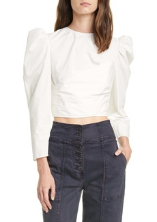 Ulla Johnson Eden Puff Sleeve Crop Cotton Blouse