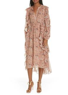 Ulla Johnson Ellette Floral Print Silk Blend Midi Dress