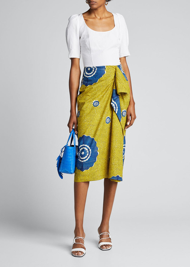Ulla Johnson Ember Printed Draped Ruffle Skirt
