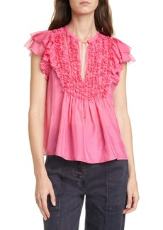 Ulla Johnson Evona Ruffle Trim Silk Top
