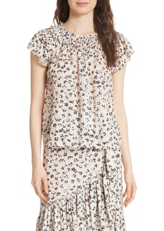 Ulla Johnson Floral Cotton & Silk Blouse