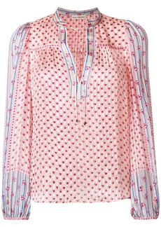 Ulla Johnson floral-embroidered sheer blouse - Pink & Purple