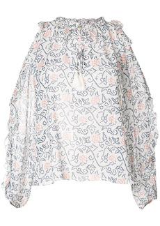 Ulla Johnson floral-print cold-shoulder blouse - White