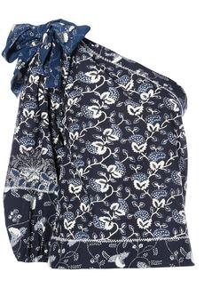 Ulla Johnson floral print one shoulder blouse - Blue