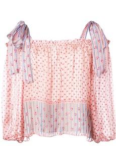 Ulla Johnson floral print tie sleeves blouse - Pink & Purple