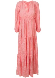 Ulla Johnson floral texture long dress - Pink & Purple