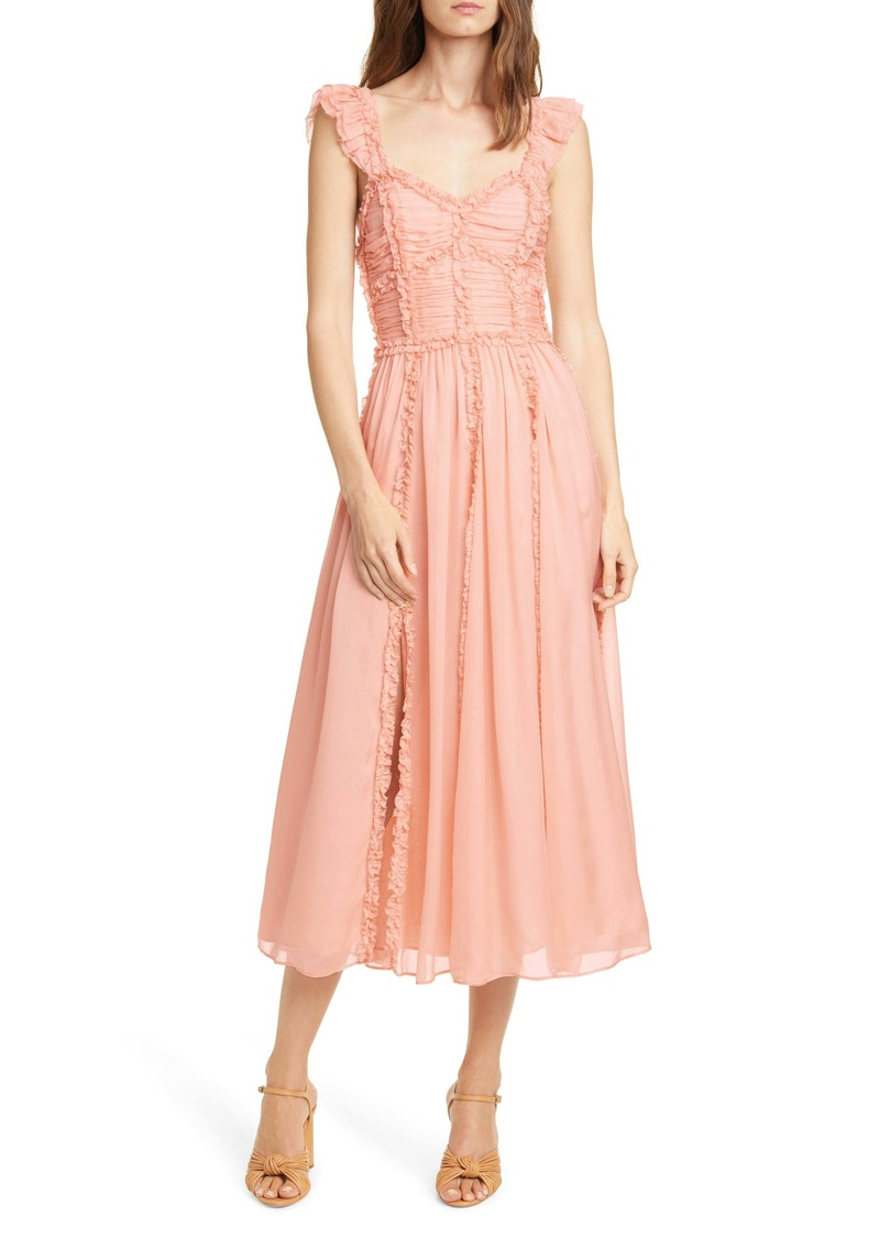 Ulla Johnson Florence Ruffle Trim Silk Midi Dress