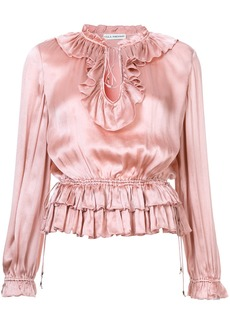 Ulla Johnson frill trim blouse - Pink & Purple