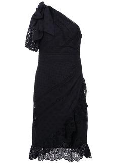 Ulla Johnson Gwyneth asymmetric ruffle trim dress - Black