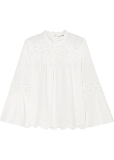Ulla Johnson Halsey broderie anglaise cotton and linen-blend blouse