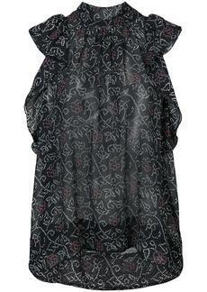 Ulla Johnson high neck ruffle blouse - Blue