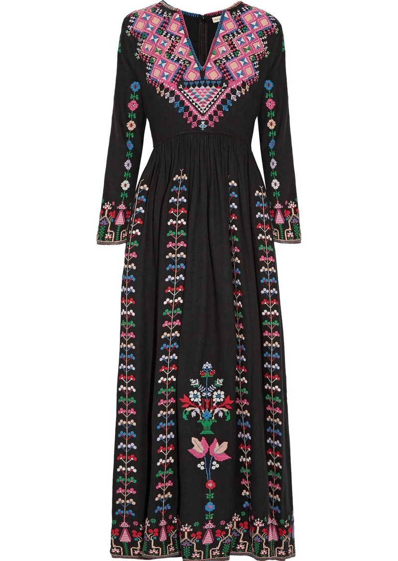 b4dbf478be6e SALE! Ulla Johnson Ulla Johnson Irina embroidered silk-canvas maxi dress