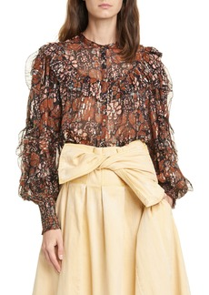 Ulla Johnson Isadora Metallic Shibori Silk Blend Georgette Blouse