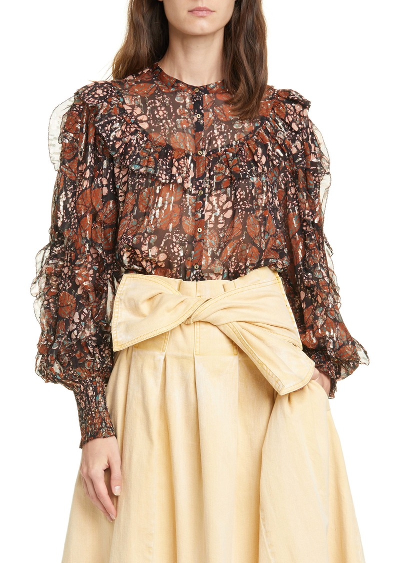 Ulla Johnson Isadora Metallic Shibori Silk Blend Georgette Blouse