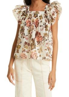 Ulla Johnson Kiki Floral Flounce Sleeve Cotton & Silk Top