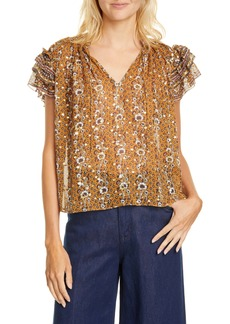 Ulla Johnson Kosta Jacquard Dot Silk Blouse