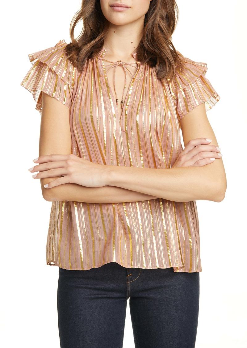 Ulla Johnson Kosta Metallic Stripe Silk Blend Top