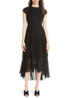 Ulla Johnson Lenore Smocked Silk Cloqué Dress