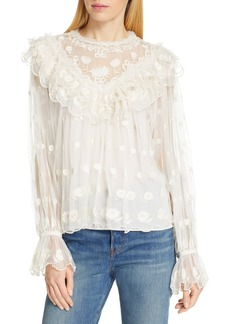 Ulla Johnson Lucien Embroidered Tulle Blouse