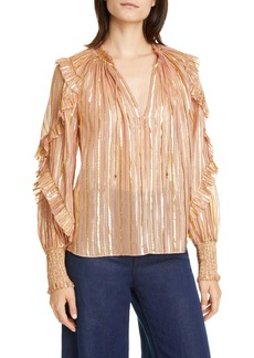 Ulla Johnson Lucinda Metallic Stripe Silk Blend Blouse