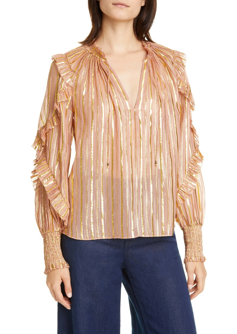 Ulla Johnson Lucinda Metallic Stripe Silk Blend Blouse