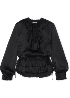 Ulla Johnson Maisie Ruffled Crinkled Silk-satin Blouse