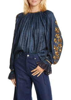 Ulla Johnson Marguerite Sequin Detail Blouse