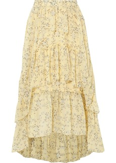 Ulla Johnson Marilyn Asymmetric Ruffled Floral-print Silk-georgette Skirt