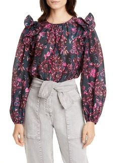 Ulla Johnson Medine Floral Balloon Sleeve Cotton Blend Blouse