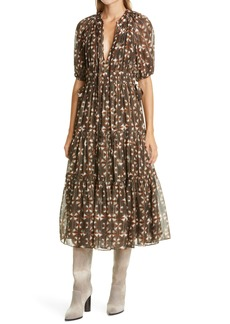 Ulla Johnson Metallic Silk Midi Dress