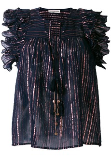 Ulla Johnson metallic stripe blouse with frill trim - Blue