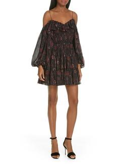 Ulla Johnson Monet Metallic Floral Cold Shoulder Silk Blend Dress