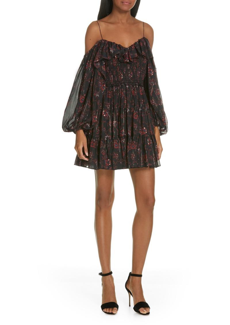 a34577e8 Ulla Johnson Ulla Johnson Monet Metallic Floral Cold Shoulder Silk ...