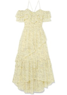 Ulla Johnson Penninah cold-shoulder ruffled floral-print silk-georgette dress