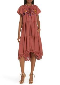 Ulla Johnson Pinar Floral Embroidered Linen & Cotton Midi Dress