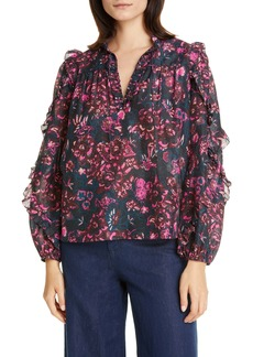 Ulla Johnson Rana Ruffle Floral Blouse