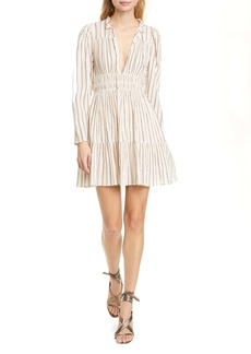 Ulla Johnson Rosalind Metallic Stripe Long Sleeve Minidress