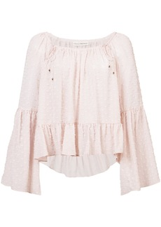 Ulla Johnson ruffled polka dot blouse - Pink & Purple
