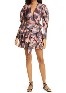 Ulla Johnson Semira Shibori Long Sleeve Silk Minidress