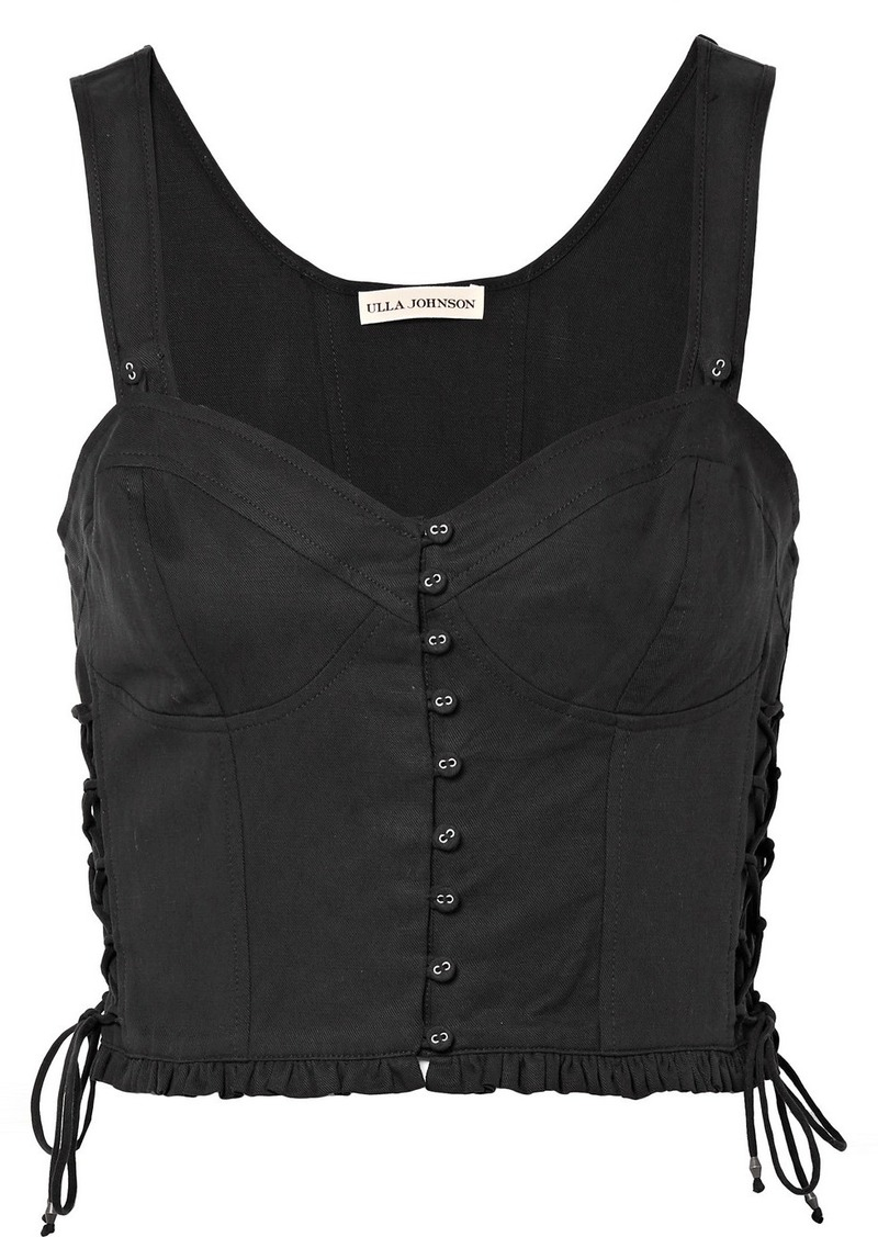 89a078869 Ulla Johnson Thea Lace-up Twill Bustier Top
