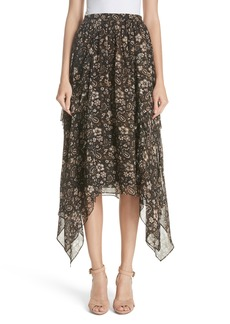 Ulla Johnson Torri Handkerchief Hem Paisley Silk Skirt