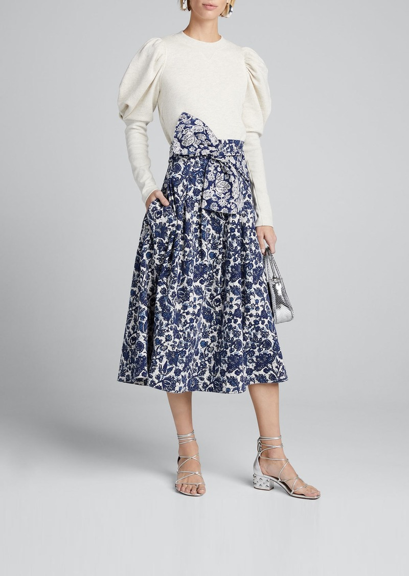 Ulla Johnson Virgil Printed Denim Pleated Skirt w/ Bow