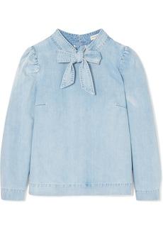 Ulla Johnson Wes bow-embellished denim blouse