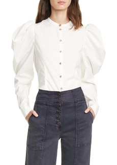 Ulla Johnson Willa Puff Sleeve Cotton Blouse