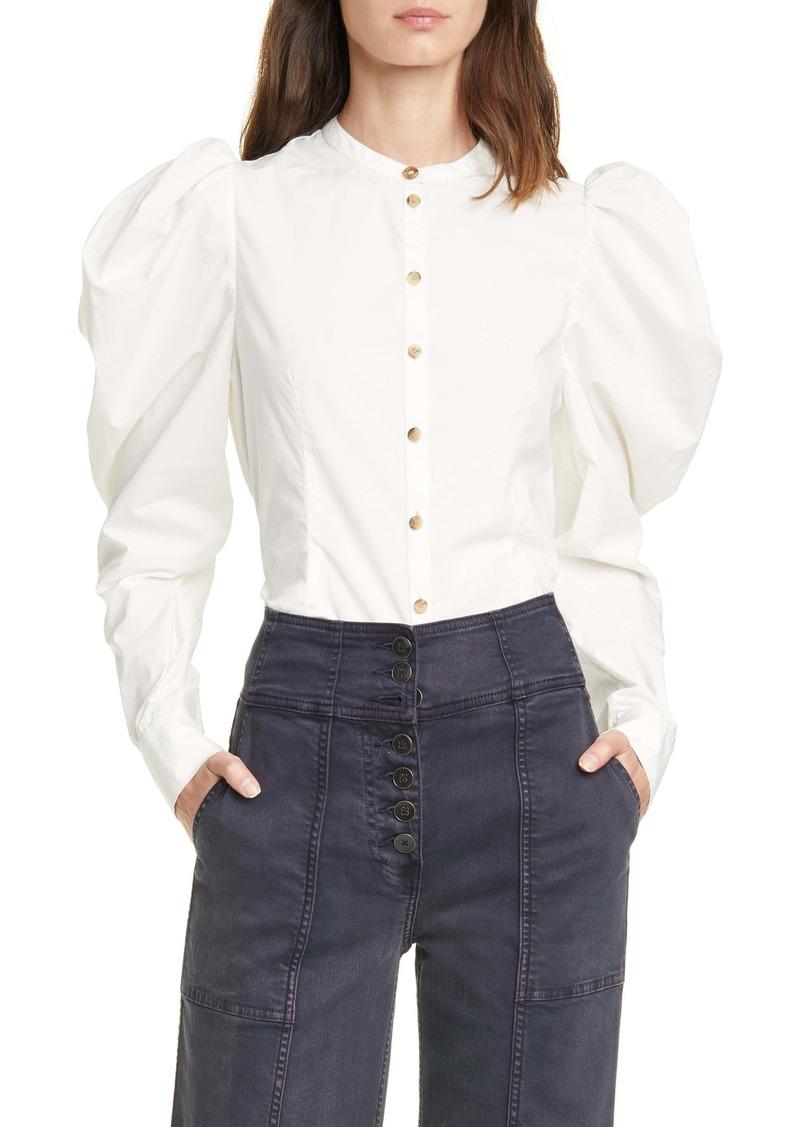Ulla Johnson Willa Puff Sleeve Cotton Blouse