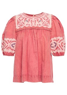 Ulla Johnson Woman Aleida Gathered Embroidered Washed-cotton Top Pink