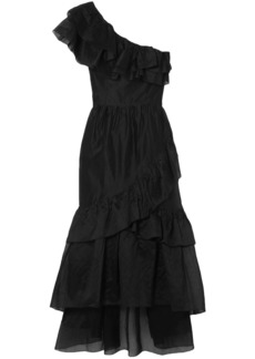 Ulla Johnson Woman Clemente One-shoulder Ruffled Cotton And Silk-blend Organza Midi Dress Black