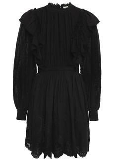 Ulla Johnson Woman Dorithie Ruffled Broderie Anglaise Cotton Mini Dress Black
