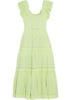 Ulla Johnson Woman Julietta Lace-up Tiered Broderie Anglaise Cotton Midi Dress Light Green
