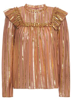 Ulla Johnson Woman Leopold Ruffled Striped Silk And Lurex-blend Blouse Antique Rose
